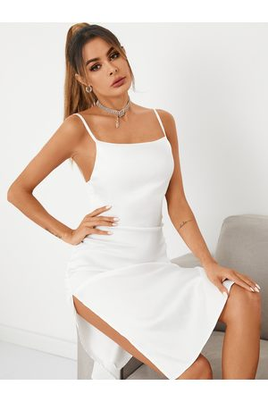 YOINS Backless Slit Hem Square Neck Sleeveless Satin Dress