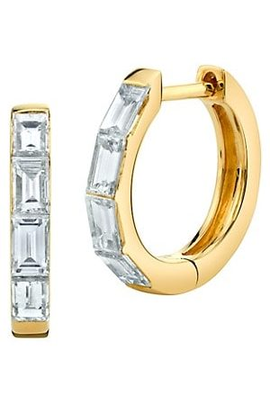 Anita 18K Yellow & Baguette Diamond Huggie Hoop Earrings