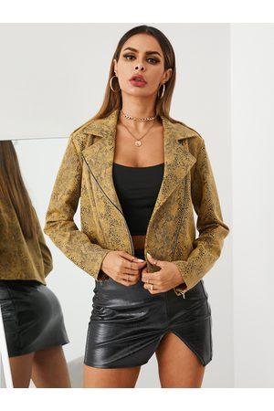 YOINS Snakeskin Zip Design Lapel Collar Long Sleeves Jacket