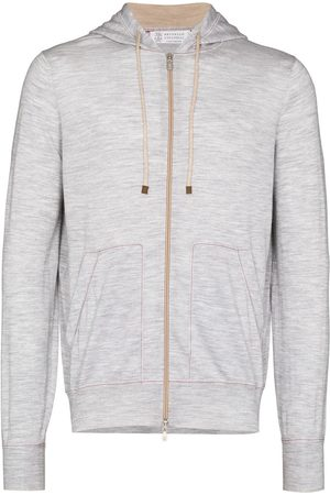 Brunello Cucinelli Mélange-effect zip-up hoodie