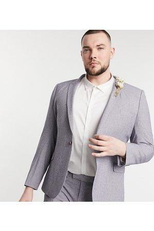 ASOS Plus wedding super skinny suit jacket in dark cross hatch