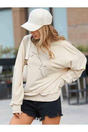 YOINS Figure Pattern Crew Neck Long Sleeves Sweatshirt