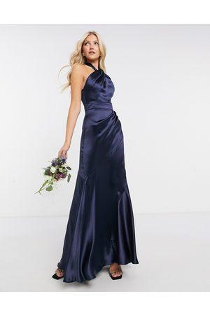ASOS DESIGN Bridesmaid satin halter maxi dress with panelled skirt and keyhole detail-Navy