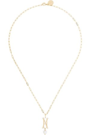 Simone Rocha Pearl-embellished M letter necklace