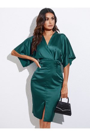 YOINS Satin Backless Tie-up Design Slit Hem V-nevk Half Sleeves Dress
