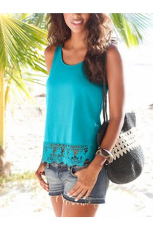 YOINS Lace Trim Hollow Design Round Neck Sleeveless Tank Top