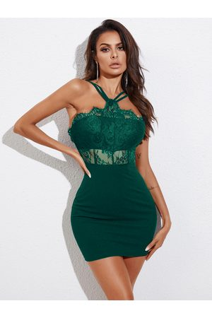 YOINS Lace Backless Design Halter Sleeveless Bodycon Dress
