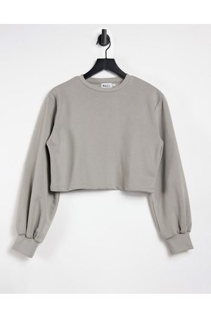 NA-KD Organic cotton cropped jumper with ballon sleeves in