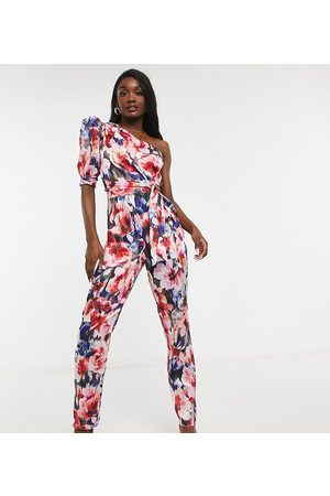 ASOS ASOS DESIGN tall one shoulder puff sleeve jumpsuit in floral
