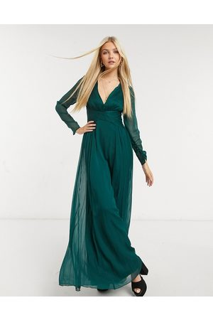 ASOS Bridesmaid ruched waist maxi dress with long sleeves and pleat skirt