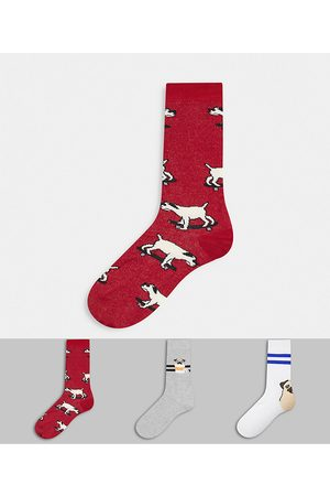 ASOS Ankle sock with happy pug designs 3 pack