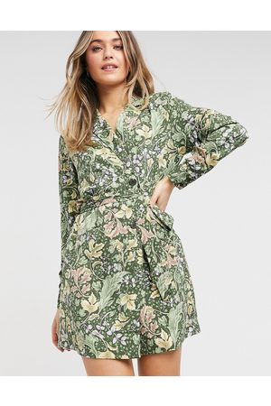 Monki Lisen recycled leaf print mini shirt dress in