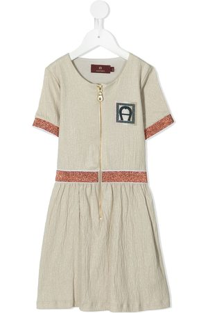 Aigner Zip-through crinkle A-line dress