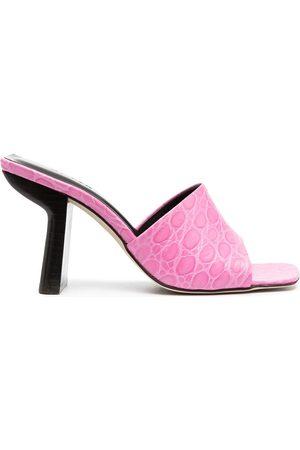 By Far Liliana crocodile-embosses sandals