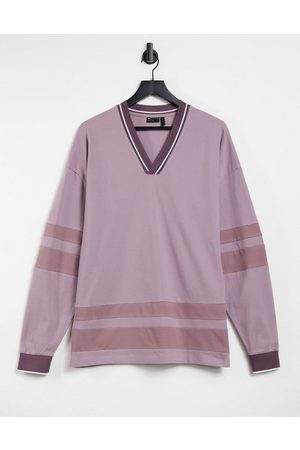 ASOS Oversized long sleeve t-shirt in light pink pique with contrast taping