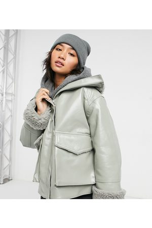 ASOS Petite leather look jacket with borg lining in sage