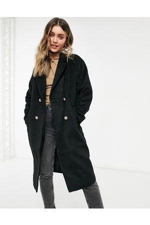 New Look Boyfriend coat with gold buttons in