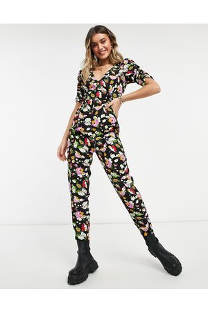 ASOS Women Jumpsuits - Ruched sleeve peg leg jumpsuit in floral print-Multi