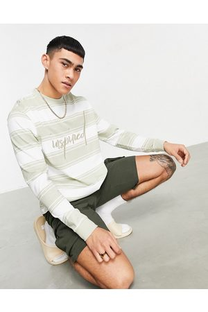 ASOS Relaxed long sleeve t-shirt in stripe with script embroidery