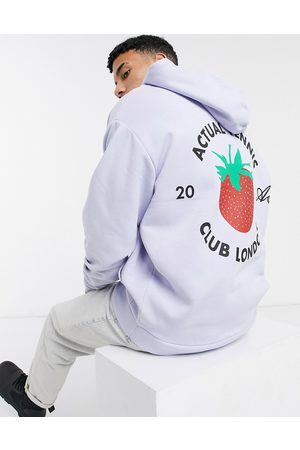 ASOS Actual Oversized hoodie with strawberry print in lilac