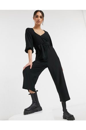 ASOS Wrap front textured smock jumpsuit in
