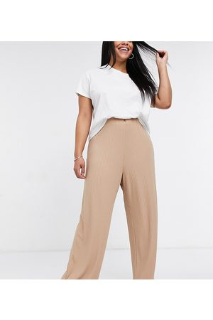 New Look New Look Curve wide rib trousers in camel