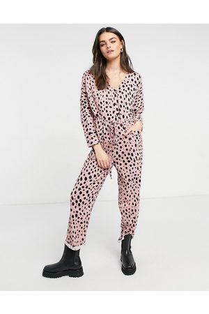 ASOS DESIGN Jersey button front tie waist slub jumpsuit in dusky animal print-Multi