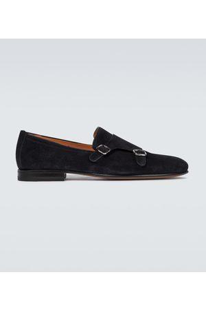 santoni Double monk strap suede shoes