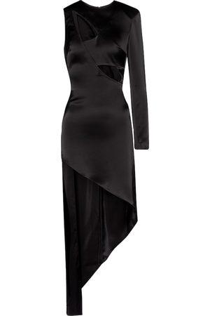 DAVID KOMA Cut-out asymmetric satin minidress