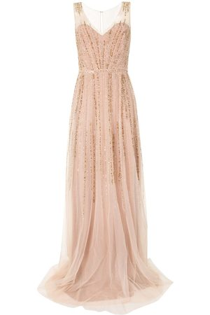 Marchesa Notte Sequin sleeveless tulle gown