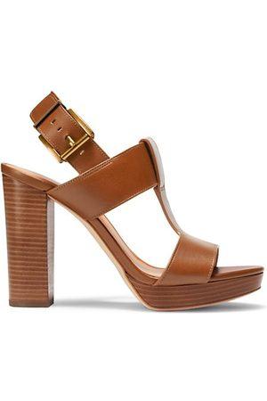 Michael Kors Platform Sandals - Becker T-Strap Leather Platform Sandals
