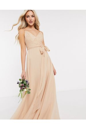 ASOS Bridesmaid cami maxi dress with ruched bodice and tie waist in sand