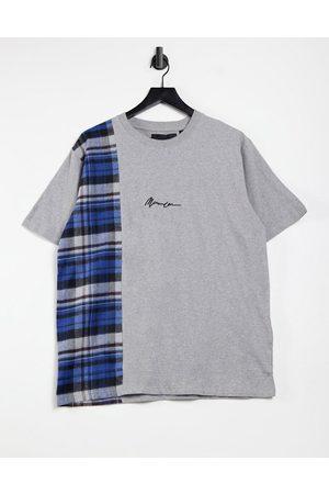 Mennace Vertical panel check short sleeve t-shirt in