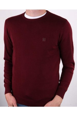 Gabicci Cole Port Burgundy Knitted Crew-Neck Jumper