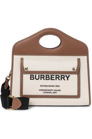 Burberry Women Tote Bags - Pocket Small leather-trimmed canvas tote