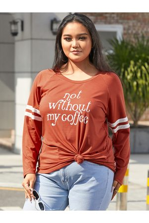 YOINS Plus Size Letter Long Sleeves Tee