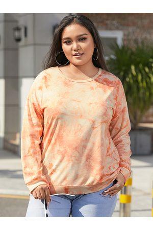 YOINS Plus Size Tie Dye Long Sleeves Sweatshirt