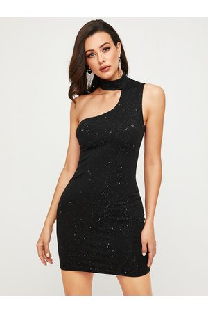 YOINS Glitter Asymmetrical Backless Halter Sleeveless Dress