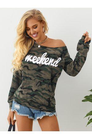 YOINS Camo Leopard Letter One Shoulder Sweatshirt