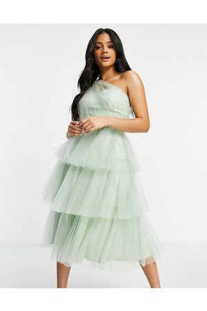 Chi Chi London One shoulder tiered tulle dress in mint