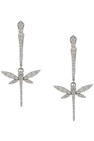 ANAPSARA 18kt white gold diamond mini dragonfly drop earrings