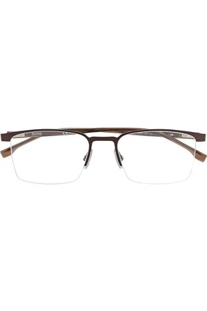 HUGO BOSS Half-rim square-frame glasses