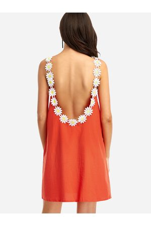 YOINS Loose Flower See-through Sleeveless Mini Dress