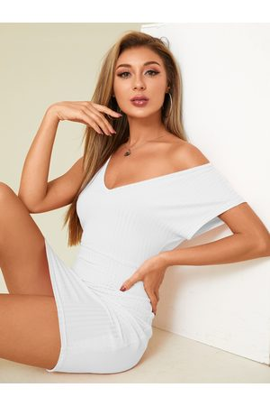 YOINS Sexy Knit V-neck Short Sleeves Bodycon Dress