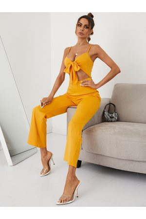 YOINS Spaghetti Cut out Tie-up design Sleeveless Jumpsuits