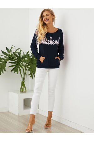 YOINS Navy Letter One Shoulder Side Pockets Sweatshirt