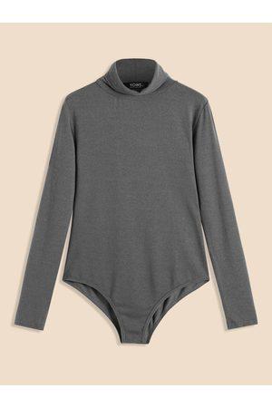 YOINS Gray High Neck Long Sleeves Bodycon Bodysuit