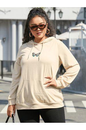 YOINS Plus Size Hooded Design Butterfly Long Sleeves Sweatshirt