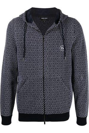Armani Chevron patterned logo patch hoodie