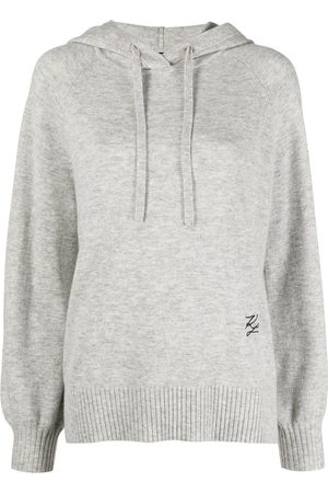 Karl Lagerfeld Embroidered logo knitted hoodie